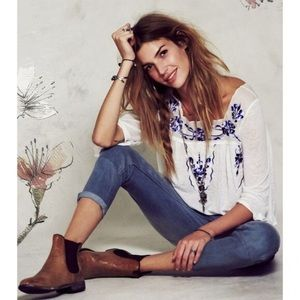 Free People Bed of Roses Embroidered Peasant Top